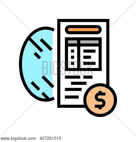 Cost Calculation, Mirror Price Color Icon Vector. Cost Calculation, Mirror Price Sign. Isolated Symb