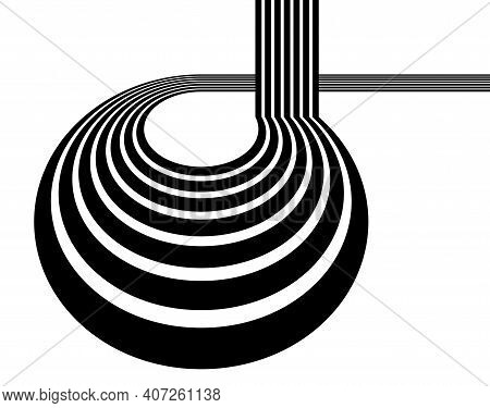 3d Black And White Lines In Perspective With Abstract Vector Background, Linear Perspective Illustra