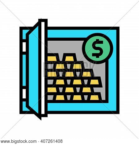 Millionaire Safe With Gold Color Icon Vector. Millionaire Safe With Gold Sign. Isolated Symbol Illus