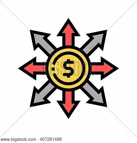 Consumption Money Color Icon Vector. Consumption Money Sign. Isolated Symbol Illustration