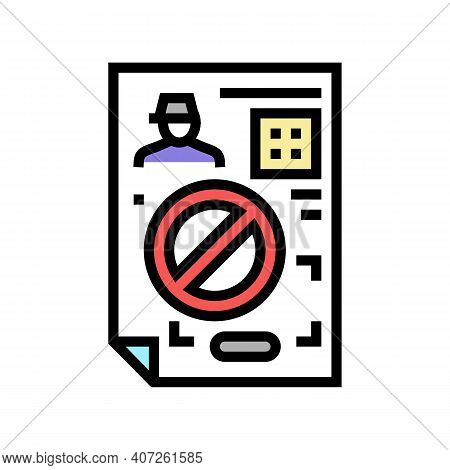 Denial Allowance Color Icon Vector. Denial Allowance Sign. Isolated Symbol Illustration
