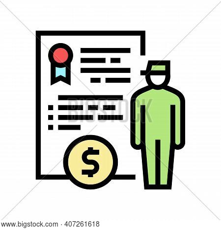 Military Personnel Allowance Color Icon Vector. Military Personnel Allowance Sign. Isolated Symbol I