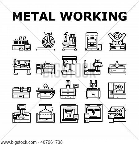 Metal Working Machine Collection Icons Set Vector. Welding And Sandblasting Machine, Laser And Borin
