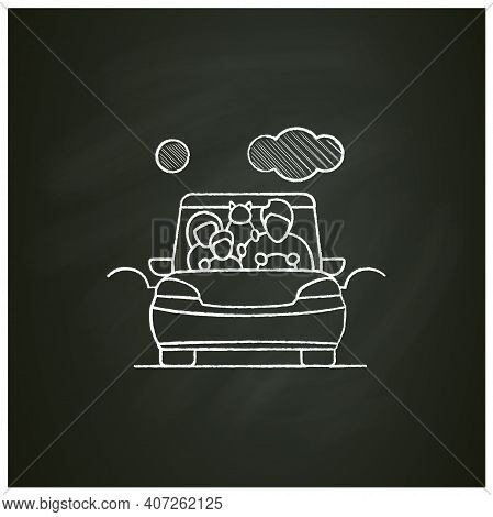 Family Road Trip Chalk Icon. Happy Parents, Child And Pet Travel In Car On Holiday. Traveling On Vac