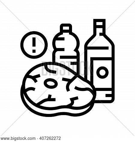 Meat, Fat Oil Unhealthy Products For Gout Disease Line Icon Vector. Meat, Fat Oil Unhealthy Products