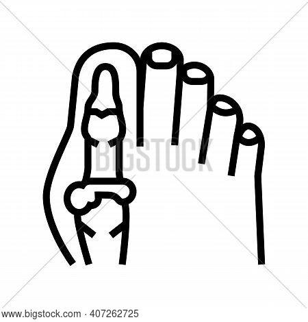 Foot Big Toe Bone Gout Line Icon Vector. Foot Big Toe Bone Gout Sign. Isolated Contour Symbol Black