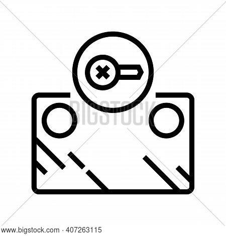Screw Instalation Mirror Line Icon Vector. Screw Instalation Mirror Sign. Isolated Contour Symbol Bl