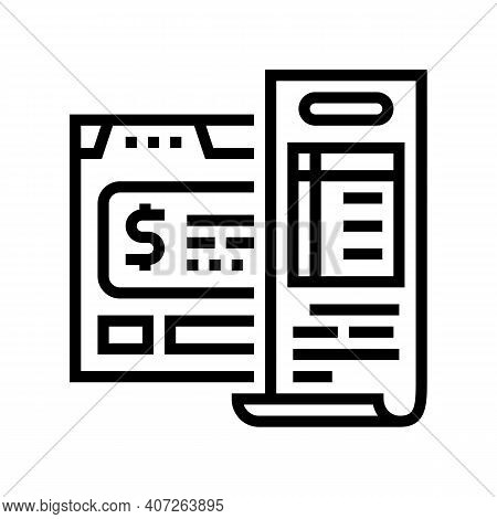Budget Calculating Line Icon Vector. Budget Calculating Sign. Isolated Contour Symbol Black Illustra