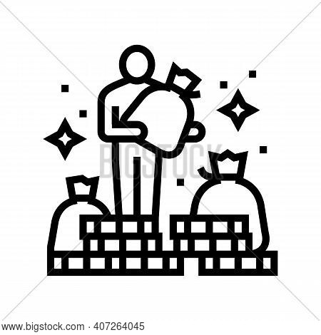 Human Financial Wealth Line Icon Vector. Human Financial Wealth Sign. Isolated Contour Symbol Black