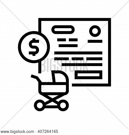 Pregnancy Allowance Line Icon Vector. Pregnancy Allowance Sign. Isolated Contour Symbol Black Illust