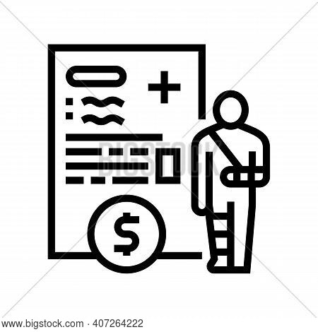 Injuries Allowance Line Icon Vector. Injuries Allowance Sign. Isolated Contour Symbol Black Illustra