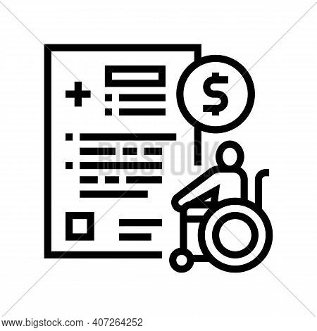Disabled Allowance Line Icon Vector. Disabled Allowance Sign. Isolated Contour Symbol Black Illustra
