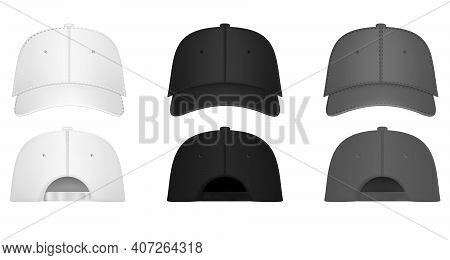 Uniform Cap Or Hat. Mockup And Blank Template Of Baseball Uniform Cap With Front, Back And Right Sid