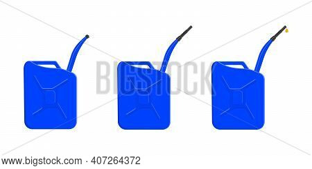 Set Of Petrol Containers, Gas Cans With Closing Cap, Spout And Pouring Fuel Drop. Gasoline Canisters