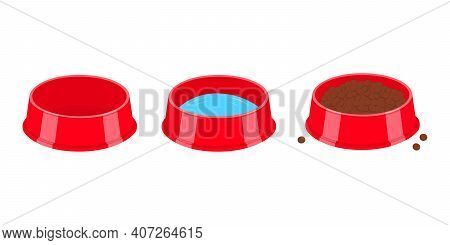 Pet Bowls Empty, Filled With Water And Food. Dog Or Cat Plastic Plates Isolated On White Background.