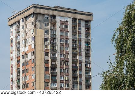Residential building in Sarajevo with bullet holes and marks of the war in Sarajevo, Bosnia and Herzegovina
