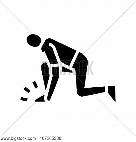 Human Leg Pain Gout Symptom Glyph Icon Vector. Human Leg Pain Gout Symptom Sign. Isolated Contour Sy
