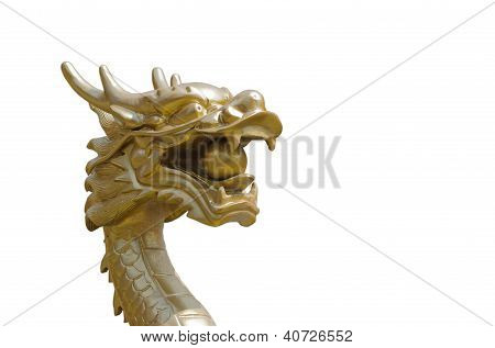 Dragon Sculpture Chinese Style On White Background