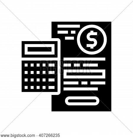 Capital Calculating Glyph Icon Vector. Capital Calculating Sign. Isolated Contour Symbol Black Illus