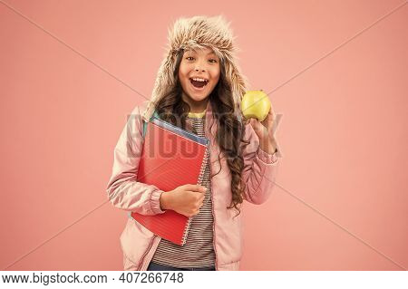 Christmas Break. Winter Semester. Teen With Backpack And Books. Healthy Snack. Modern Education. Sty