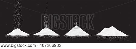 Sugar, Salt Or Flour Heap. Vector Illustration Set Of White Falling Powder On Black Background.
