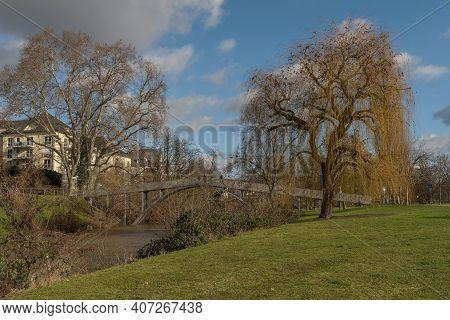 Small Footbridge Over The Nidda River In Frankfurt-hoechst, Germany