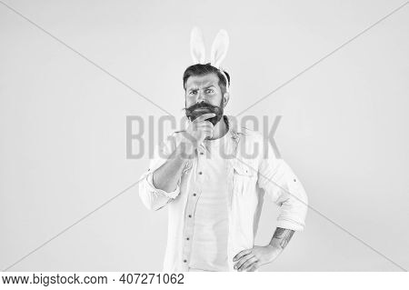 Beard For Your Face Shape. Easter Rabbit Touch Beard Yellow Background. Bearded Man With Stylish Bea