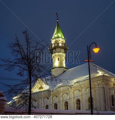 Old Mosque Al-marjan With A Minaret In Kazan, Republic Of Tatarstan, Russia. Night Photography. The