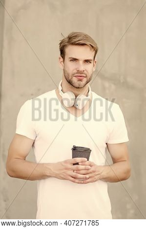 Order Something To Drink. Modern Guy Drink Coffee In Morning. Handsome Man Hold Hot Drink. Enjoying