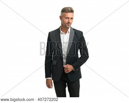 Looking Good Its Self-respect. Professional Man Isolated On White. Wearing Formal Suit. Business Pro