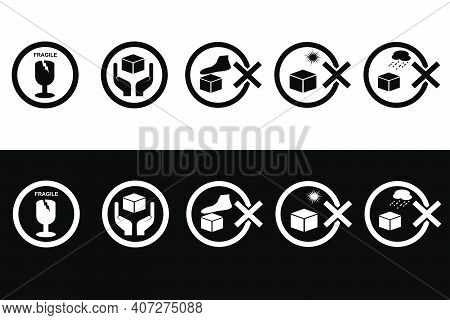 Vector Black And White Icon Style, Instruction, Caution And Prohibited Sign At Package, Fragile, Han