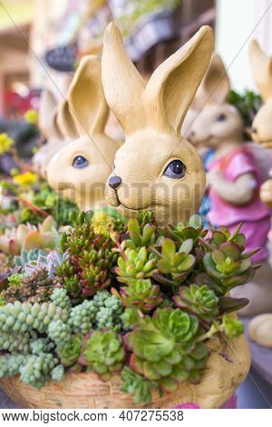 bunny rabbit centerpiece with a potted succulent plant