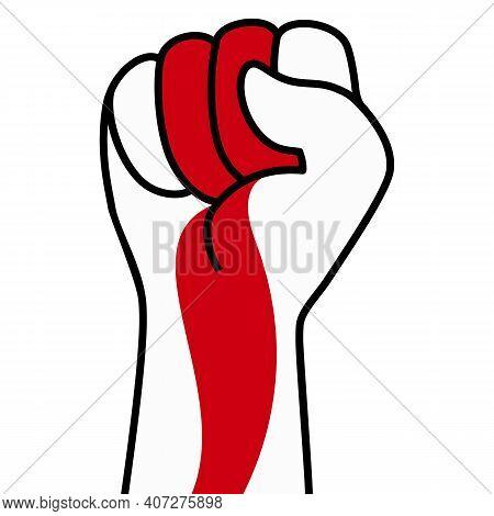 Raised Fist Flag Of Belarus, Hand. Fist Shape Color Of Belarus Flag. Patriotic Demonstration, Rebel,