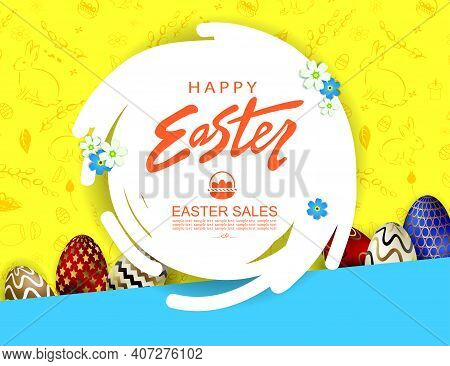 Composition With Easter Eggs, Abstract Round White Frame, Oblique Curtains Of Blue And Yellow Shades