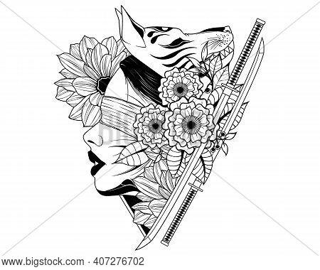 Katana Girl Samurai Fox Demon Flower Mask