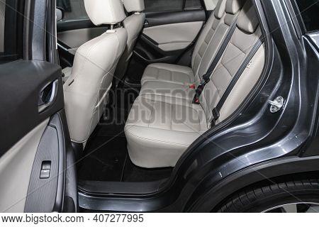 Novosibirsk, Russia - February 07 2021: Mazda Cx-5, Comfort Car Inside. Clean Car Interior: Beige Ba