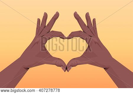 African American Human Hands Making Heart Shape Gesture Communication Language Gesturing Concept Hor