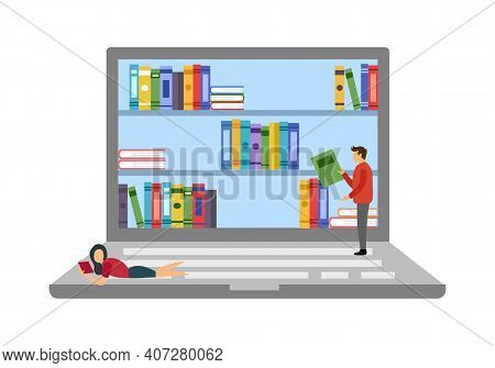 E-library On Laptop Computer. Man And Woman Reading Books Via Digital Library In Flat Design. E-lear