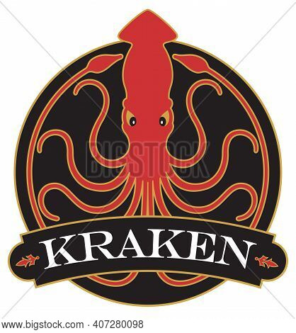 Kraken Or Giant Squid Badge, Logo, Or Emblem Design With Ornate Banner. Vector Illustration Badge Sh