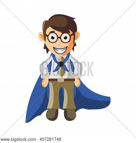 Business Man Wearing Robe Cartoon Character Illustration Design Creation Isolated