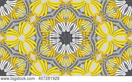 Curved Shapes Of Different Shades Of Yellow And Gray With White Abstraction Based On Geometry And Na