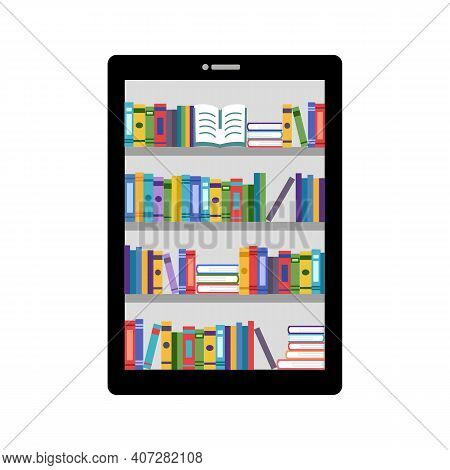 E-library On Tablet Device In Flat Design. Online Digital Library, Ebook, E-learning, Online Educati