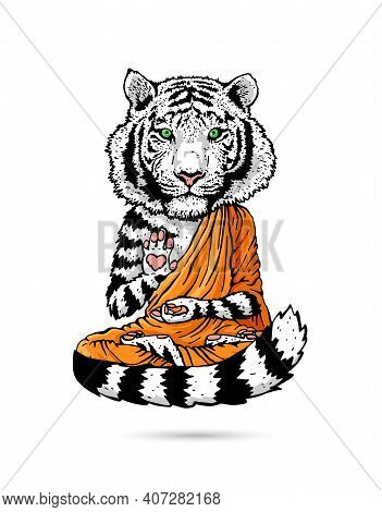 White Tiger - Buddha - Monk. Buddhist In An Orange Robe. A Tiger In A Lotus Position Soars Above The