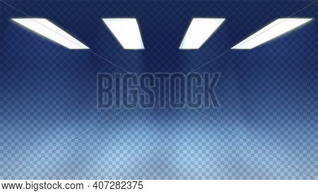 Rays Of Light On Transparent Checkered Background. The Room Is Lit By Ceiling Lamps. Vector Illustra