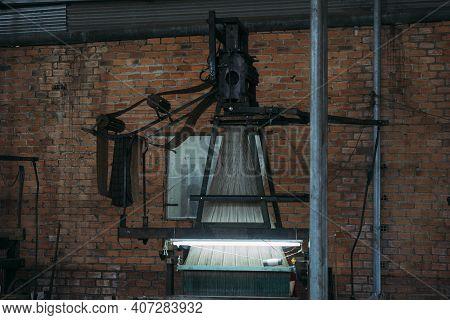 Old Silk Weaving Machine Running, Creating Silk Cloth.