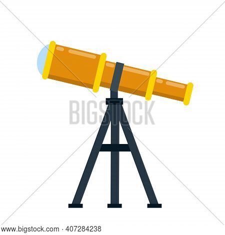 Telescope. Magnifying Glass On Tripod For Discovery Stars. Element Of Astronomy And Science. The Mod