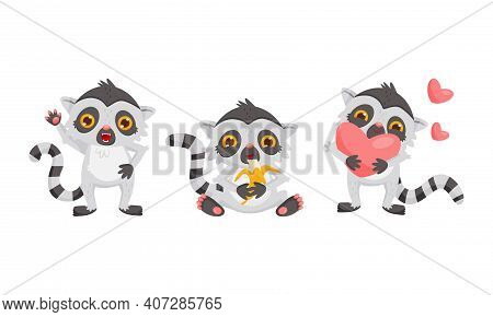 Cute Lemur As Primate With Long Striped Tail Waving Paw, Holding Heart And Eating Banana Vector Set