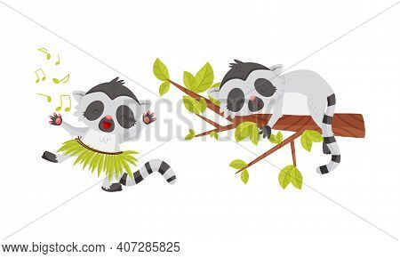 Cute Lemur As Primate With Long Striped Tail Dancing, Singing And Sleeping On Tree Branch Vector Set