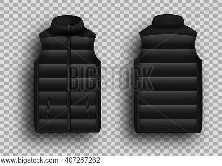 Black Winter Puffer Vest, Sleeveless Jacket Mockup Set, Vector Illustration. Realistic Down Vest, Fr