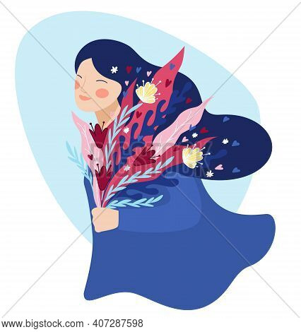 Happy Female Character With Bouquet Of Flowers